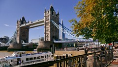 Bridge in the sun. (Englepip) Tags: autumn tree sunshine shard people boat riverthames river towerbridge london