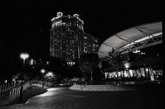 Night photo on B&W (Thanathip Moolvong) Tags: delta p3200 bw film night street walk epson v800 nikon f100 ilford