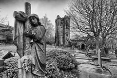 The Ruined Church (Mabvith) Tags: heptonstall yorkshire england uk mono bw church ruin winter blackandwhite graves graveyard