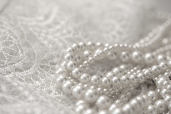 """Pearls and lace (Karon Elliott Edleson) Tags: white macro closeup lace monotone pearls """"whiteonwhite"""" """"lookingcloseonfriday"""" necklace jewelry"""