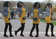 Charming black girl posing in striped jacket and yellow tube (pivapao's citylife flavors) Tags: paris france trocadero girl beauties stitched