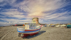(006/20) Colores II (Pablo Arias) Tags: pabloarias photoshop nx2 cielo nubes arquitectura paisaje barca torre arena playa cabodegata almería