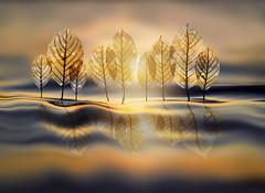 sunset grove (marianna armata) Tags: macro leaves grove trees water reflection sunset composite mariannaarmata psd illustration creative