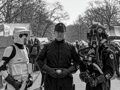 THE DARK SIDE OF THE FORCE (NorbertPeter) Tags: people men starwars costume cosplay elfia haarzuilens netherlands monochrome portrait streetphotography streetportrait spontaneous panasonic lumix g9 blackandwhite bw outside
