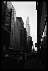 (David Ian Ross) Tags: sunlight winter afternoon east 42nd olympus trip 35 35mm ilford hp5 manhattan nyc 2000 city street chrysler building film student art newyork newyorkcity ny