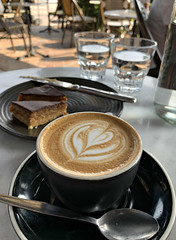 2020 Sydney: Flat White (dominotic) Tags: 2020 food coffee cafe garçoncafe caramelslice explore yᑌᗰᗰy iphonexsmax coffeeobsession foodphotography sydney australia