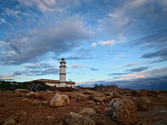 little lighthouse (koaxial) Tags: fb200303a lighthouse leuchtturm küste coast rocks felsen sky blue hour clouds wolken nature mallorca 2019 evening