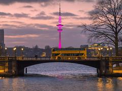 Licht Show Fernsehturm 01 (Torsten schlüter) Tags: deutschland hamburg heinrichhertzturm magenta fernsehturm kunstlicht olympus 75mm 2019