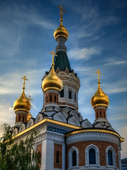 Detail (Мaistora) Tags: church temple orthodox russian towers steeples domes gold golden gilded sky clouds skyline skylum luminar luminar4 ai leica dlux typ109 travel cities city vienna austria explore explored08jan20