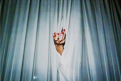 (Stefano☆Majno) Tags: red nails hand curtains creepy angst film is dead horror blu motel dark night shot analog analogue stefano majno analogica pellicola vision no post model beauty sensual dusty picture scanned low res grainy lowres pictorial portrait seventies vintage contax g1 zeiss 28mm from above filmisnotdead shooting camera church intimate color shoulder lomo 800 lomography surrealism lomofilm girl sadness analogico dust