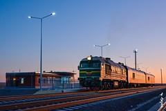 New station & new day... (N.Batkhurel) Tags: railroad autumn sky sunrise season railway railwaystation mongolia locomotive railwaytrack railfan m62um monrailpic train nikon ngc trainspotting 24120mm diesellocomotive dornogobi nikond5200