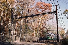 Highland Branch (aksynth) Tags: contaxg2 zeissplanar35mmf2 mbta greenline dline highlandbranch kodake100 ektachrome