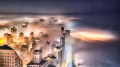 Night Lights - Chicago (jnhPhoto) Tags: jnhphoto fog chicago chicagocloudslakemichigancityscape chicagoskyline cheetah cityscape city citylife lakemichigan lake lakeshoredrive water