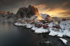 sunrise (shutterbug_uk2012) Tags: sunrise norway snow mountains sea red huts rocks rocky long exposure grads nikon