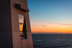 When the night is over ... (vanessa violet) Tags: whenthenightisover lordhuron sunrise atlantic ocean sea lighthouse window refelction hww wednesday newfoundland capespear vanessaviolet