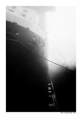 """""""Dans Les Traces Du Poulpe Ou Pour L'Attendrir Faut Taper Dessus.... 25"""" (TBWLC Photography) Tags: fdrouet tbwlc nb bw monochrome boat ship bateau saintnazaire penhoët nikon d750 brume myst"""