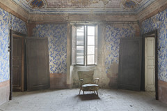 Villa Dell'allenatore (Jonnie Lynn Lace) Tags: abandoned italy italian italia villa house home mansion interior old blue yellow white history time memories decay derelict ruins ruinas europe european trip travel textures indoors chair doors window architecture art arte painting shadows family classic rural rurex nikkor nikon d750 50mm digital flickr details exploration explore explorer urbex jonnielace lost lostplace