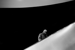 upstairs (heinzkren) Tags: schwarzweis blackandwhite monochrome urban street streetphotography minimal minimalism vienna wien rolltreppe escalator canonr eosr mann man human candid