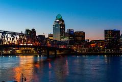 Cincinnati Sunset (tduaneparker) Tags: cityscape bridge sunset river nikon nikon24120mmf4g nikond700 ohioriver kentucky ohio cincinnati