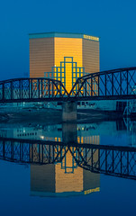 Horseshoe Casino Hotel and Red River at Blue Hour (photographyguy) Tags: shreveport downtownshreveport louisiana redriver bluehour blue hotel bridge nightime reflection river