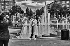 Couples (michaelhertel) Tags: sw bw mono monochrome vintage mannheim street people germany deutschland helios zenith travel wasserturm fujifujifilmxe3