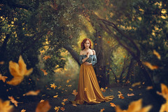 What Remains ({jessica drossin}) Tags: jessicadrossin leaf leaves trees gold green dress branches alone lonely blue shirt woman person portrait wwwjessicadrossincom