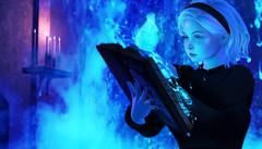 💙 (Kittiem) Tags: secondlife sabrina wasabi genus belleza girl blue fire church satan enfersombre witch