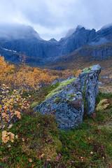 Rock Fall (loomstone) Tags: lofoten norway autumn fallcolors