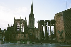 mjuii - cathedral square (johnnytakespictures) Tags: olympus mju mjuii mju2 stylusepic compact compactcamera film analogue fuji fujifilm superiaxtra400 coventry westmidlands winter cathedral religion religious christian catholic church ruin ruins historic historical spire tower building architecture period