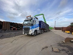 """PO66ULX Volvo FH loaded and netting up for Liverpool (Mark Schofield @ JB Schofield) Tags: transport road commercial vehicle lorry truck wagon tipper tanker artic eight wheeler haulage contractor bulk haulier tractor unit freight hgv lgv scrap scrapyard yard metal processor merchant cast iron schofield linthwaite huddersfield """"jb schofield"""" """"metal merchants"""" recyclers recycling recyclers"""" steel copper """"schofield huddersfield"""" hooklift hookloader scraphandler sennebogen 825e 830e"""