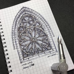 Gothic window study (schunky_monkey) Tags: practice illustration art fountainpen penandink ink pen drawing draw sketchbook sketching sketch building church architecture window gothic