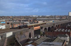 Black 5 Locomotive No.45305 brings the ECS into Birmingham Moor Street, from Tyseley, for the 14.40 Polar Express. 08 12 2019 (pnb511) Tags: loco locomotive steam engine train carriages viaduct industry industrial factories black5 no45305 birminghammoorstreet birmingham