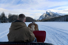 Enjoying the Ride (Anthony Mark Images) Tags: sleighride romantic horsedrawnsleigh snow tracks snowcoveredtrees mountrundell cloudysky pretty banfftrailriders warnerstables wintersleighride winter banff beautiful alberta canada people portrait horse driver nikon d850 flickrclickx onehorseopensleigh