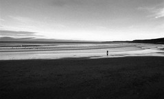 A romantic stroll (Richie Rue) Tags: beach stroll strolling couple romance romantic evening walking blackandwhite monochrome bnw bw film analogue foma fomapan400 fomadon excel 11 35mm mood scarborough eastcoast yorkshire outdoors endoftheday sea seaside seashore