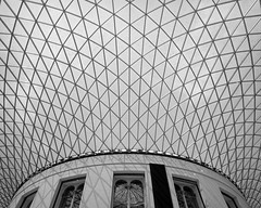 The fameous ceiling (p2-r2) Tags: nikon f3 f3hp uk london british museum ceiling windows skylight nikkor20mmf28afd blackandwhite agfa apx 100 new emulsion film abstract