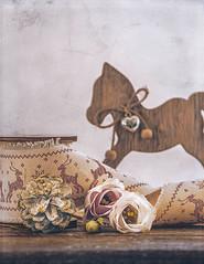 Wintertime (Ro Cafe) Tags: stilllife winter flowers lisianthus pinecone ribbon toy highkey naturallight textured nikkor105mmf28 sonya7iii
