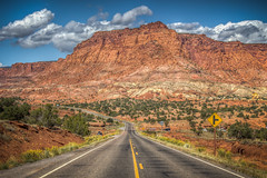 Capitol Reef National Park near Chimney Rock (donnieking1811) Tags: utah torrey capitolreefnationalpark capitolreef nationalpark park chimneyrock landscape mountain highway road utah24 signs cars automobiles outdoors sky clouds blue trees hdr canon 60d lightroom photomatixpro