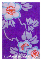 Climbing Clematis (Kurokami) Tags: lindsay ontario canada kimono japan japanese asia asian woman women girl girls lady ladies traditional kitsuke casual komon haori jacket silk ikat weave weaving climbing clematis flower flowers floral antique vintage purple grey cyan blue red