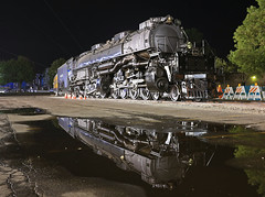 West Chicago Layover (GLC 392) Tags: water rain reflection up upr upp union pacific steam program engine big boy 4014 smoke black white rail railroad railway train classic large charge west chicago il illinois life pure night time