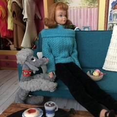 7. Relaxing (Foxy Belle) Tags: dollhouse doll vintage barbie dream house 1960s mod midge 16 scale diorama couch dog