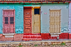 DUPLEX (emerge13) Tags: architecture colonialarchitecture cuba doors textures trinidadcuba trinidadsanctispirituscuba cob architecturaldetails colorfulbuildings cobblestonestreets cobblestone windows hdr tcp rustyandcrusty