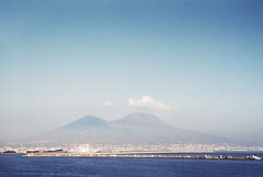 View from near Porto di Napoli (aboard the SS Constitution) of Mount Vesuvius, Italy, 1950s (gbfernie5) Tags: juliavanderveerrees italy 1950s pompeii vacation holiday vesuvius naples kodachrome