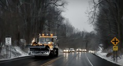 The Salt Truck-HTT! (☼☼ Jo Zimny Photos☼☼) Tags: truck truckthursday plow roads reflections cars following snowplow salttruck