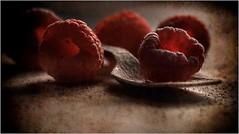 raspberries and sugar (Slávka K) Tags: old light red stilllife macro fruit eating spoon sugar vintageimage 2020 kitchen cuisine vitamins oldspoon