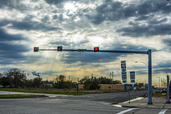 (jfre81) Tags: texascity texas tx tex 409 galveston county avenue sixth street intersection downtown vacant lot sunset dusk sundown 197 highway road sign signal light traffic clouds color james fremont photography jfre81 canon rebel xs eos