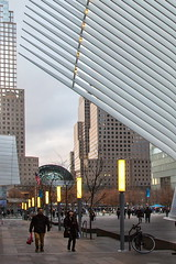 Walking outside Oculus II (witajny) Tags: newyork architecture oculus buildings building street streetphotography sky skyline skyscrapers city cityscape cityview citylife people streetlights perspective calatravaarchitecture calatrava santiagocalatrava
