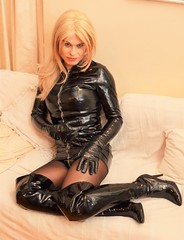 All in PVC even down to my panties which someone sent me to wear (Miss Nina Jay) Tags: pvc boots gloves dress tights