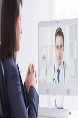 online doctor (vvfitinc) Tags: online woman man doctor gp communicator video chat message conference voice webcam call screen consult consultation internet software wireless conversation physician hospital health care advice manager white bright light