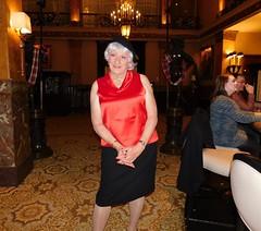 "Just Call Me ""Innocent Bystander"" (Laurette Victoria) Tags: hotel bar lobby milwaukee pfisterhotel satin skirt beret silver laurette woman"