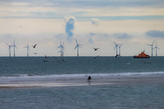 Beach scene (frank.shepherd) Tags: seascape coast beach canon eos sand britain sandbank canon70d ocean sea england water fishing norfolk shoreline coastline fishingboat trawler windfarm waves tide cielo